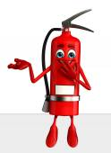 Fire Extinguisher character with  sign — Stock Photo