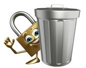 Lock Character with dustbin — Stock Photo