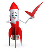 Rocket character with right sign — Stock Photo