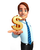 Young Service Man with dollar sign — Foto Stock