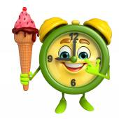 Table clock character with icecream — Foto de Stock
