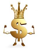 Dollar Character with bodybuilding pose and crown — Foto de Stock