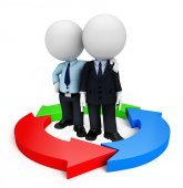 Business team with circular graph — Stockfoto