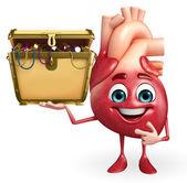 Heart character with treasure box  — Stockfoto
