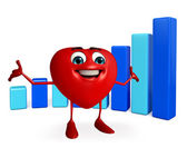 Heart Shape character with business graph — Stok fotoğraf