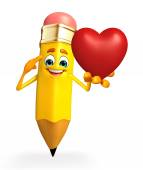 Pencil Character with red heart — Stock Photo