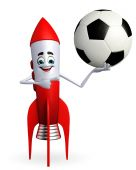 Rocket character with football  — Foto de Stock