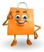 Shoppingväska karaktär med bästa sign — Stockfoto
