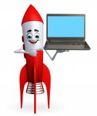 Rocket character with laptop — Stock Photo