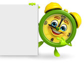 Table clock character with sign — Stock Photo