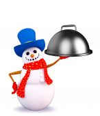 Snowman character with dish pan — Stock Photo