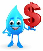 Water Drop Character with dollar sign — Stock Photo