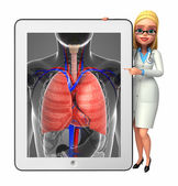 Young Doctor with lungs anatomy — Stockfoto
