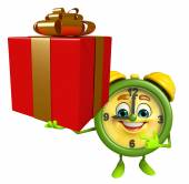 Table clock character with gift box — Stock Photo