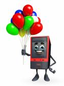 Computer Cabinet Character with balloon — Stock Photo