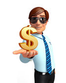 Young Service Man with dollar sign — Stock Photo