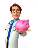 Young Doctor with piggy bank — Stock Photo