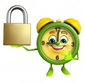 Table clock character with lock — Stock Photo