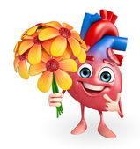 Heart character with flower  — Stock Photo