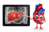Heart character with liver anatomy — Stock Photo