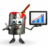 Paint Bucket Character with Business graph — Stock Photo
