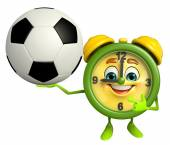 Table clock character with football — Stock Photo