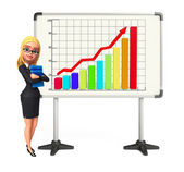 Young Business Woman with business graph — Stock Photo