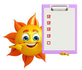 Sun Character With notepad — Stock Photo