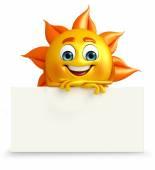 Personagem de sol com placa de sinal — Fotografia Stock