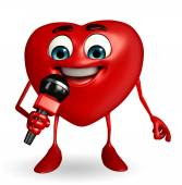 Heart Shape character with mike — Stock Photo