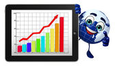 Earth Character with business graph — Stock Photo