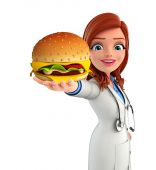Young Doctor with burger — Foto de Stock