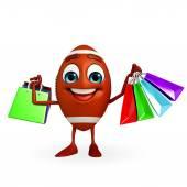 Rubgy bal karakter met boodschappentas — Stockfoto