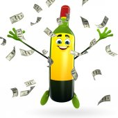 Wine Bottle Character with dollars — Foto Stock
