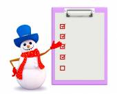 Snowman character with notepad — Stockfoto