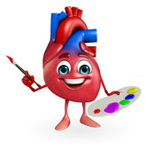 Heart character with color plate — Stock Photo