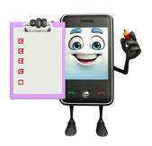 Mobile personagem com o bloco de notas — Fotografia Stock