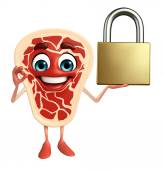 Meat steak character with lock — Photo