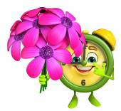 Table clock character with flower — Stock Photo