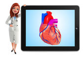 Young Doctor with heart anatomy — Stock Photo