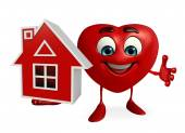 Heart Shape character with home — Stock Photo