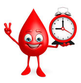 Blood Drop Character with table clock — 图库照片