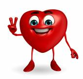 Heart Shape character with victory sign — Stock fotografie