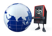 Computer Cabinet Character with globe — Stock Photo