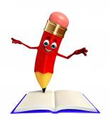 Pencil Character with open book — Stock Photo
