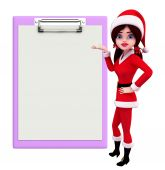 Santa Girl Character with notepad — Stock fotografie