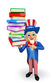 Uncle Sam with books  — Stock Photo