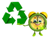 Table clock character with recycle icon — Stock Photo