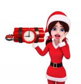 Santa Girl Character with time bomb — ストック写真