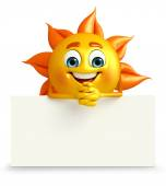 Sun Character With sign board — Stock Photo